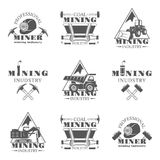 Mining industry set of vector monochrome vintage emblems, labels, badges and logos isolated on white background. Mining industry, professional machinerie, coal Royalty Free Stock Photos
