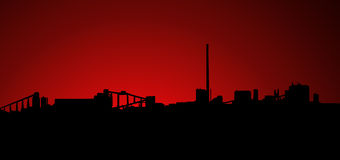 Mining Industry Sunrise Sunset Silhouette royalty free illustration