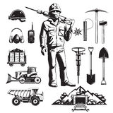 Mining Industry Vintage Icons Set. Mining industry monochrome vintage icons set with worker and pit professional tools and machineries isolated vector vector illustration