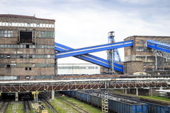 Mining infrastructure. Shaft, conveyors and buildings . Royalty Free Stock Photos