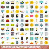 100 mining investigation icons set, flat style Stock Photography