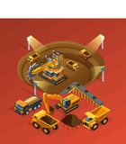 Mining Isometric Concept Royalty Free Stock Photo