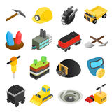 Mining isometric 3d icons Stock Photography