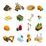 Mining Isometric Icons Set Stock Photography