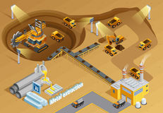 Mining Isometric Illustration Royalty Free Stock Image