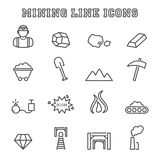 Mining line icons Royalty Free Stock Image