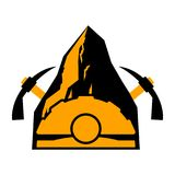 Mining logo. Meiner emblem. Helmet and pickaxe and Coal rock. Ve Royalty Free Stock Photo