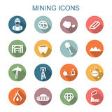 Mining long shadow icons Royalty Free Stock Photos