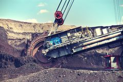 Mining machine, mining coal royalty free stock photography
