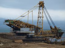 Mining machine , surface coal mine. Northern Bohemia stock image