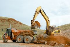 Mining Machinery Earthworks. In the Outback stock image