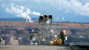 Mining machinery working in open pit, Ruhr, Germany stock video footage