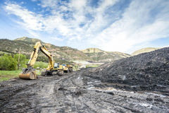 Mining Machines, Coal And Infrastructure Royalty Free Stock Photography