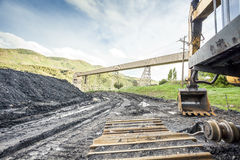 Mining machines, coal and infrastructure Stock Images
