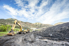 Mining machines, coal and infrastructure Royalty Free Stock Photos