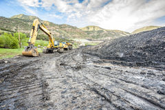Mining machines, coal and infrastructure Stock Photos