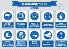 Mining mandatory sign Stock Image