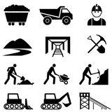 Mining and miner icon set Royalty Free Stock Photo