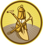 Mining miner lamp shovel  axe Royalty Free Stock Photos