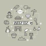 Mining minimal outline icons Stock Photo
