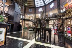 Mining museum of Asturias, The complex includes the information on mining activity. Asturias, Spain - November 19, 2018: Mining museum of Asturias, The complex stock photos