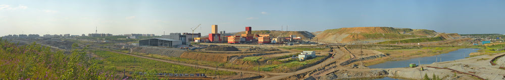 Mining and Processing Plant of Alrosa diamond mining company Stock Images