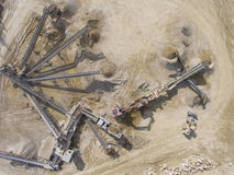 Mining quarry with special equipment, open pit excavation. Sand Stock Photography