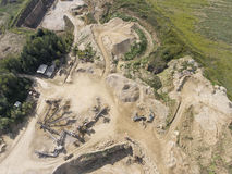 Mining quarry with special equipment, open pit excavation. Sand Royalty Free Stock Photos