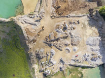 Mining quarry with special equipment, open pit excavation. Sand Royalty Free Stock Photography