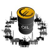 Mining and quarrying-3. Barrel of oil products and oil platforms. Illustration on white background Stock Images
