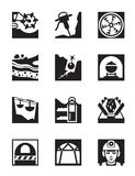 Mining and quarrying industry icon set. Vector illustration stock illustration