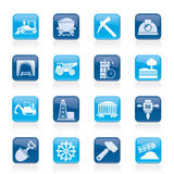 Mining and quarrying industry icons Royalty Free Stock Images