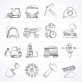 Mining and quarrying industry icons Stock Photography