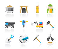 Mining and quarrying industry objects and icons Stock Image