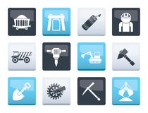 Mining and quarrying industry objects and icons over color background. Vector icon set vector illustration