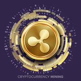Mining Ripple Cryptocurrency Vector. Golden Coin, Digital Stream.  Royalty Free Stock Photography