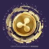 Mining Ripple Cryptocurrency Vector. Golden Coin, Digital Stream. vector illustration