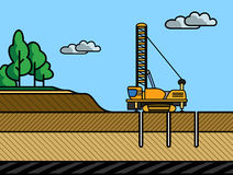 Mining rotary drill. Vector color illustration in simple spot color Stock Photo