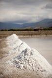 Mining salt. Salt plains near the area of Bima, Sumbawa, Indonesia Stock Photo