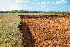 Mining. Sand pit on the former agricultural field royalty free stock photos