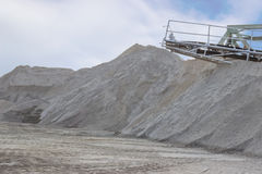 Mining sand from the riverbed Royalty Free Stock Image