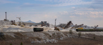 Mining site. Open pit mining and processing plant for gravel royalty free stock photo