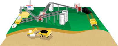Mining site operation. Illustration of a mining site operation Royalty Free Stock Photography