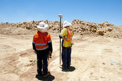 Mining Surveyors. In Open Pit Blasting Royalty Free Stock Photo