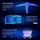 Mining technology. Digital money. High-tech technology vector il. Cryptocurrency concept banner background with trolley, video card and pickaxe. Mining Royalty Free Stock Image