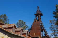 Mining Tower & Building in Sierra Foothills Stock Photo