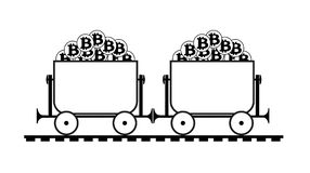 Mining trolley with bitcoin. Trolley with crypto currensy royalty free illustration