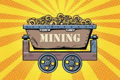 Mining trolley with cryptocurrency bitcoin Royalty Free Stock Photos