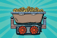 Mining trolley with cryptocurrency bitcoin. Pop art retro comic book vector illustration Stock Photos