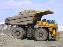 Mining truck. Bucket, build, bulldozer, construct, construction Royalty Free Stock Photography